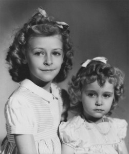 Barbara (right) with her older sister Pat (left)